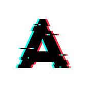 Vector Logo Letter A Glitch Distortion