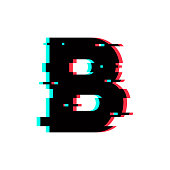 Vector Logo Letter B Glitch Distortion