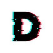 Vector Logo Letter D Glitch Distortion