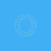 Vector Logo Letter O Dots Lines Detailed
