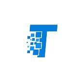 Vector Logo Letter T Blue Blocks Cubes