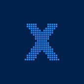 Vector Logo Letter X Small Blocks