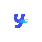 Vector Logo Letter Y Modern Blue Green Gradient on Right Side