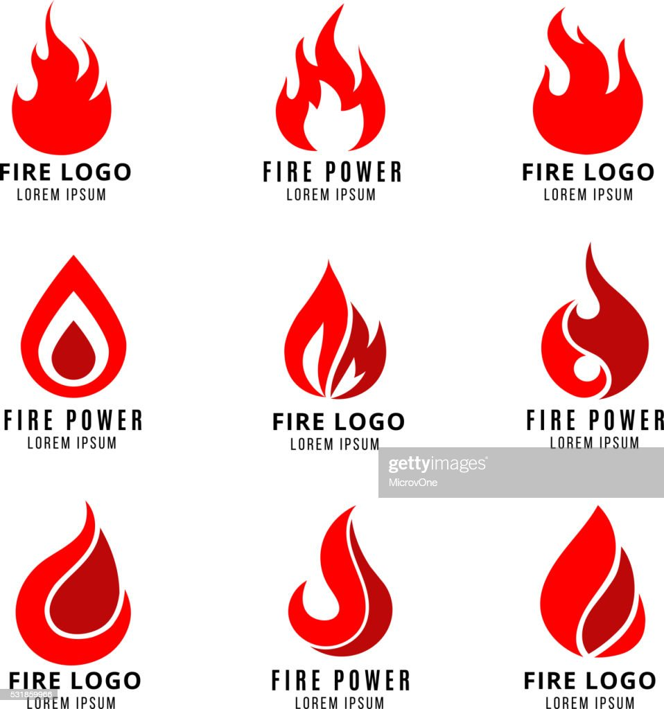 Vector logo set with fire symbols