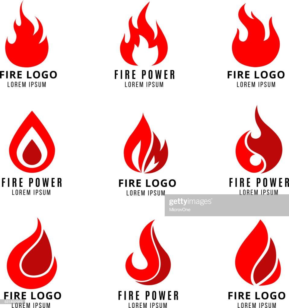 Vector logo set with fire symbols