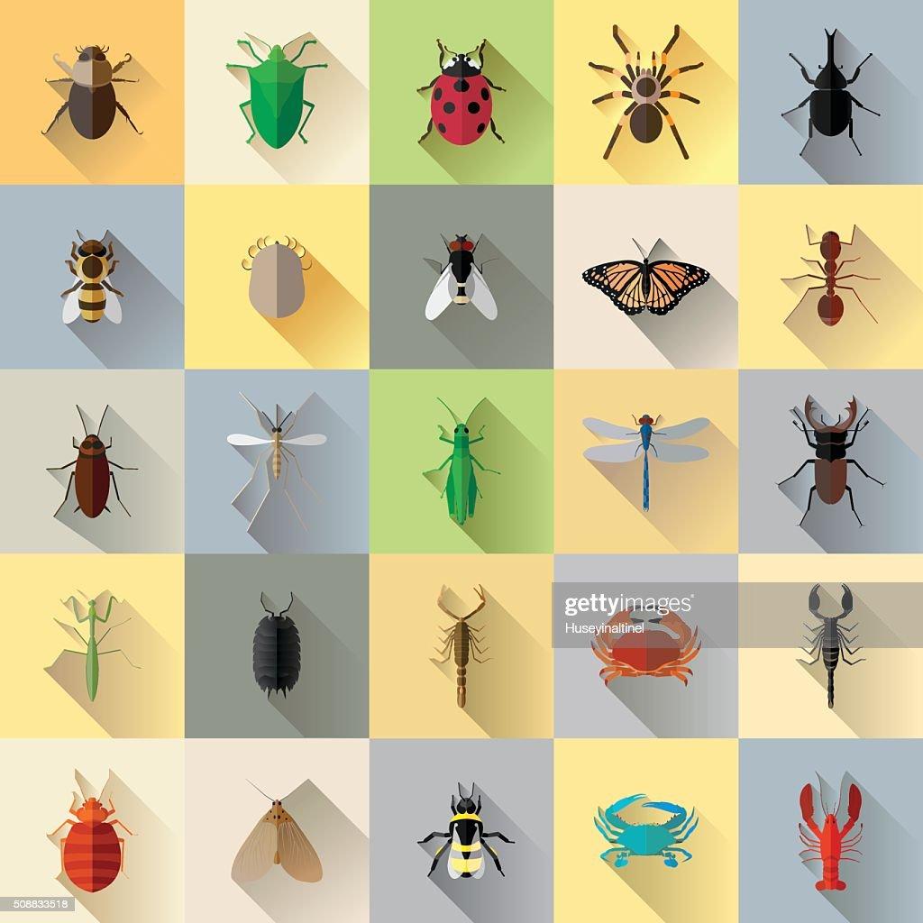 Vector Long Shadow 25 Bug Insect Set