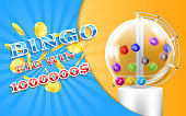 Vector lottery banner, bingo game background