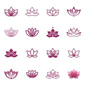 Vector Lotus labels for Wellness industry