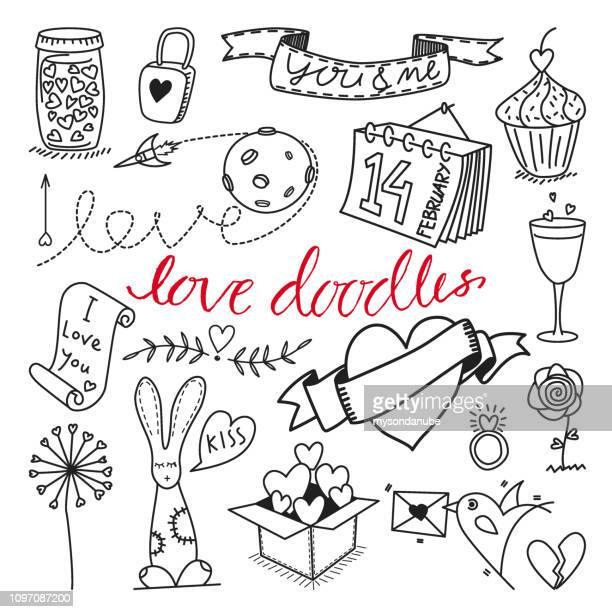 vector love themed hand drawn doodles and cliparts set - jar stock illustrations