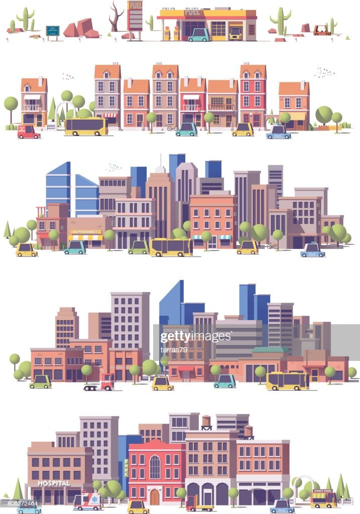 Vector low poly 2d city scenes