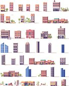 Vector low poly buildings set