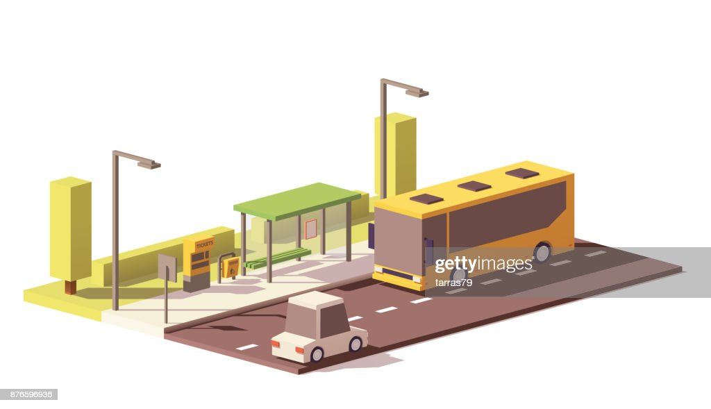 Vector low poly bus and the bus stop