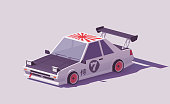 Vector low poly classic drift car