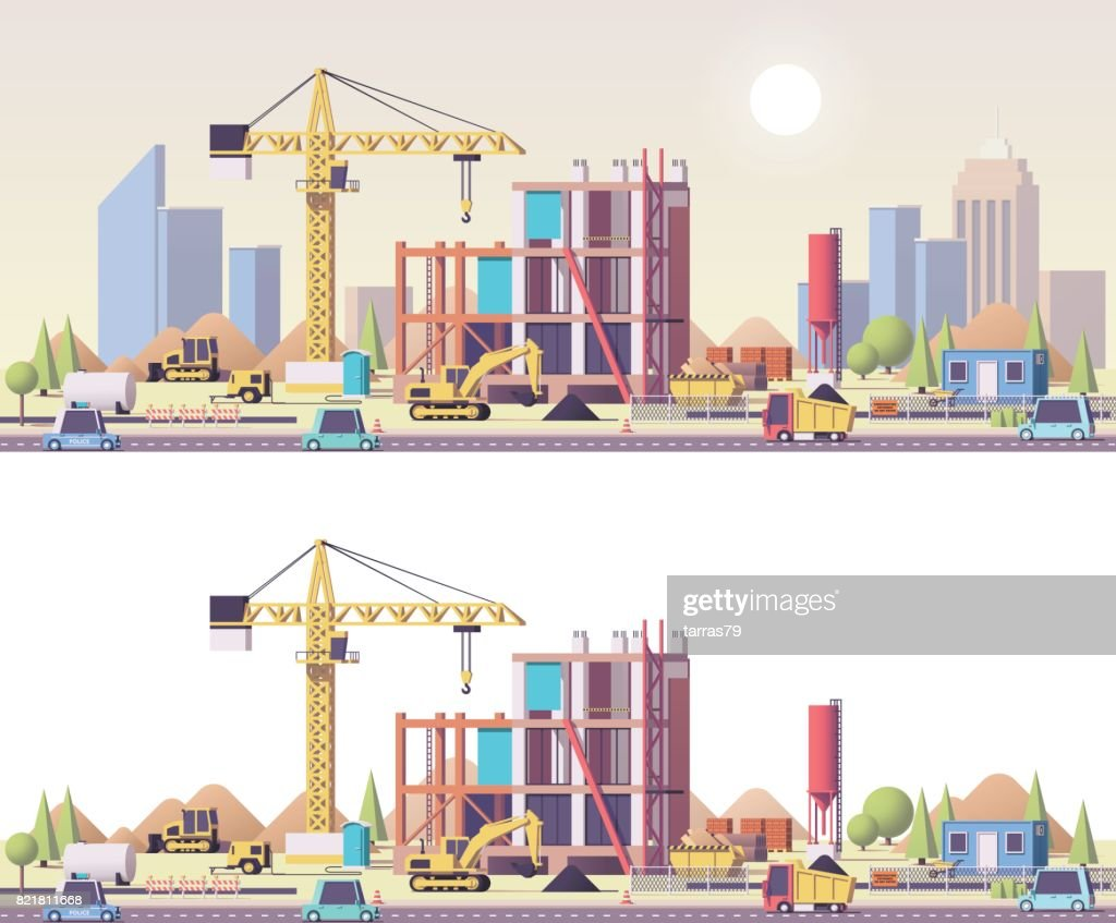 Vector low poly construction site