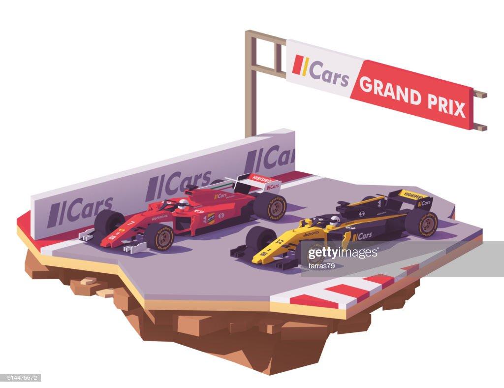 Vector low poly formula race