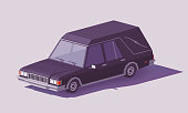 Vector low poly funeral hearse car