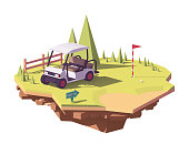 Vector low poly golf cart
