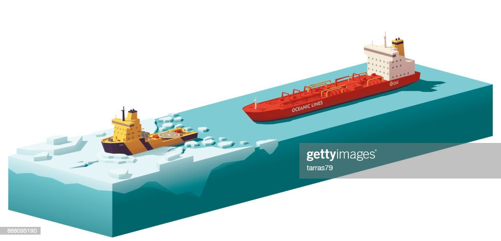 Vector low poly icebreaker breaking the ice