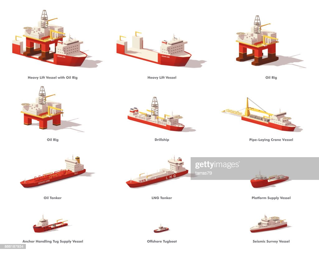 Vector low poly offshore oil exploration vessels
