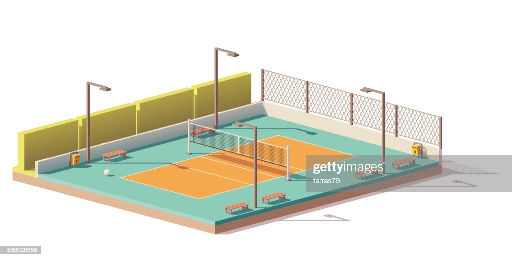Vector low poly volleyball court