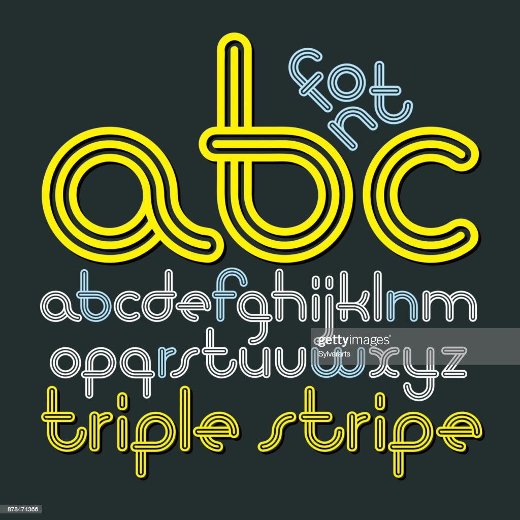 Vector Lowercase Funky Disco Alphabet Letters Abc Set Trendy Font Typescript Created