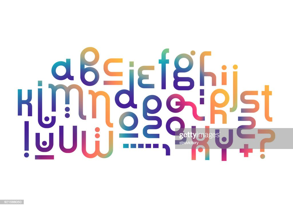 Vector lowercase modern alphabet. Rounded fluid gradient font for logotype creation.