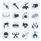 Vector lumberjack and sawmill icons set.Vector symbols. Vector illustration