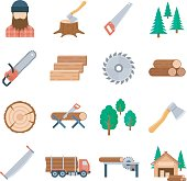Vector lumberjack icons set in flat style