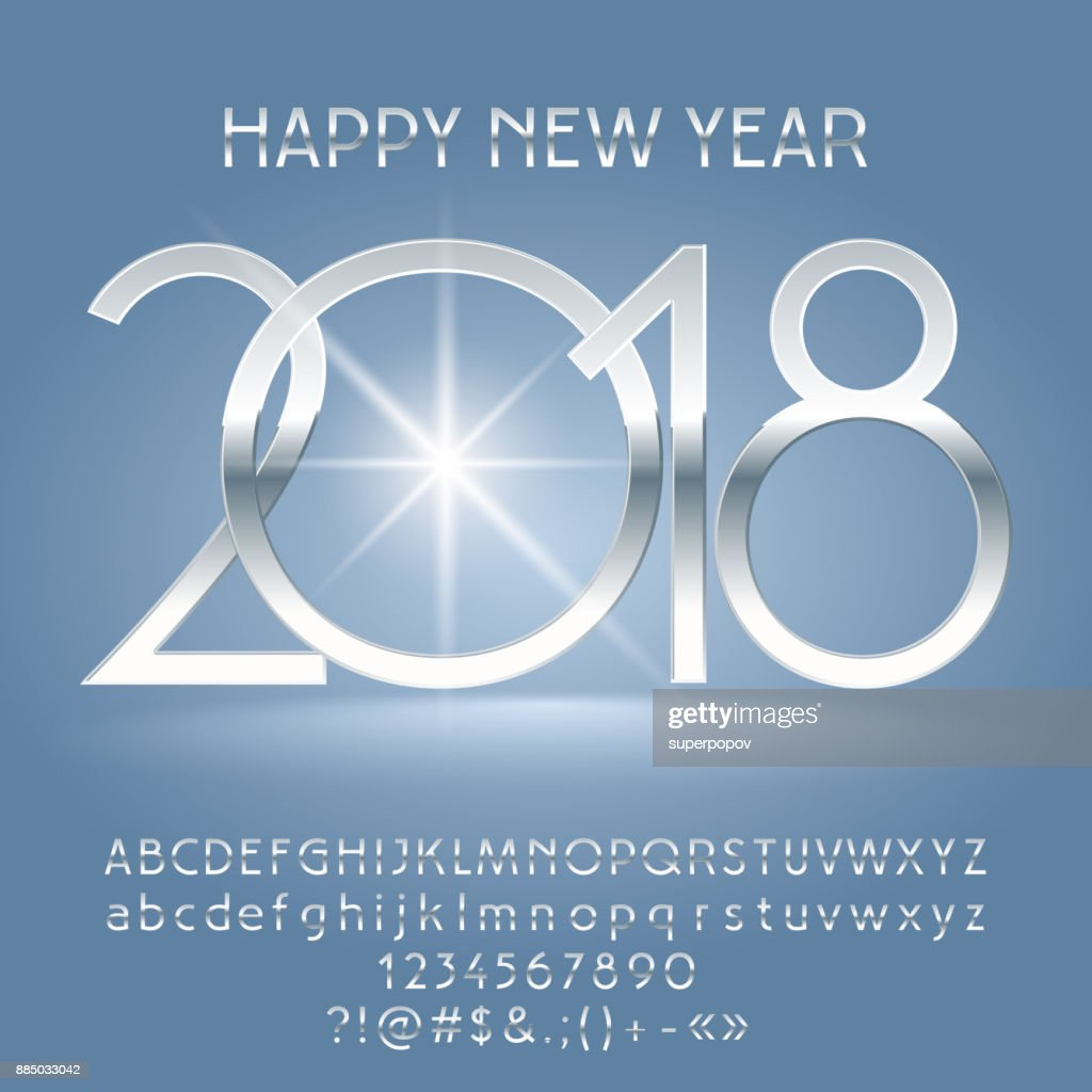 vector luxury happy new year 2018 greeting card with alphabet vector art