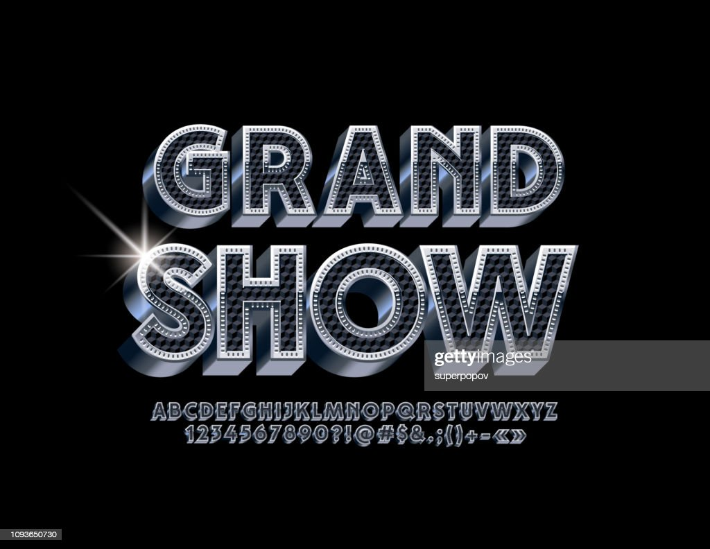 Vector luxury Logo Grand Show. Black and Silver 3D Alphabet