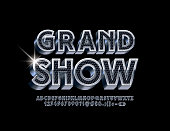 Vector luxury Logo Grand Show. Black and Silver 3D Alphabet