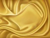 Vector luxury realistic golden silk, satin textile