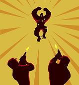 Vector Mad Gorilla Silhouette
