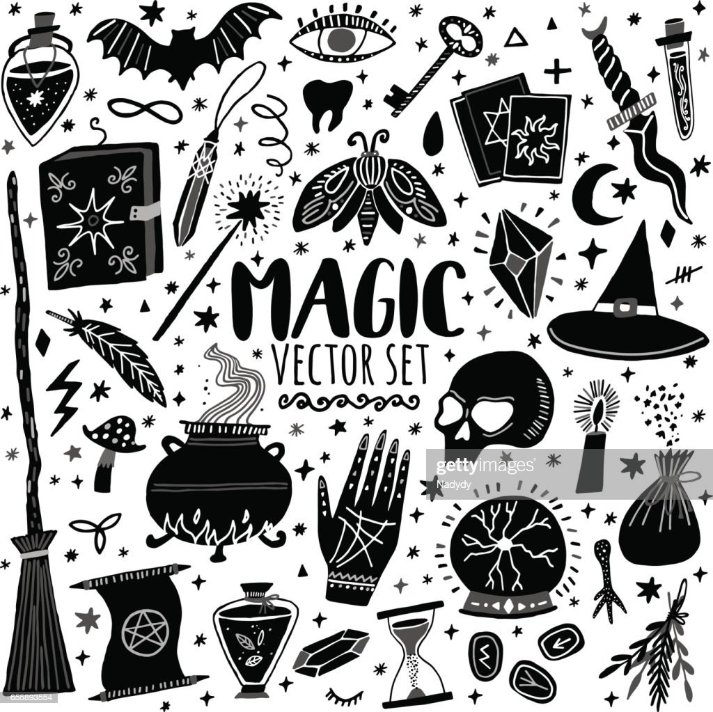 Vector magic icon hand-drawn doodle set