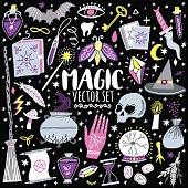 Vector magic icon hand-drawn doodle set