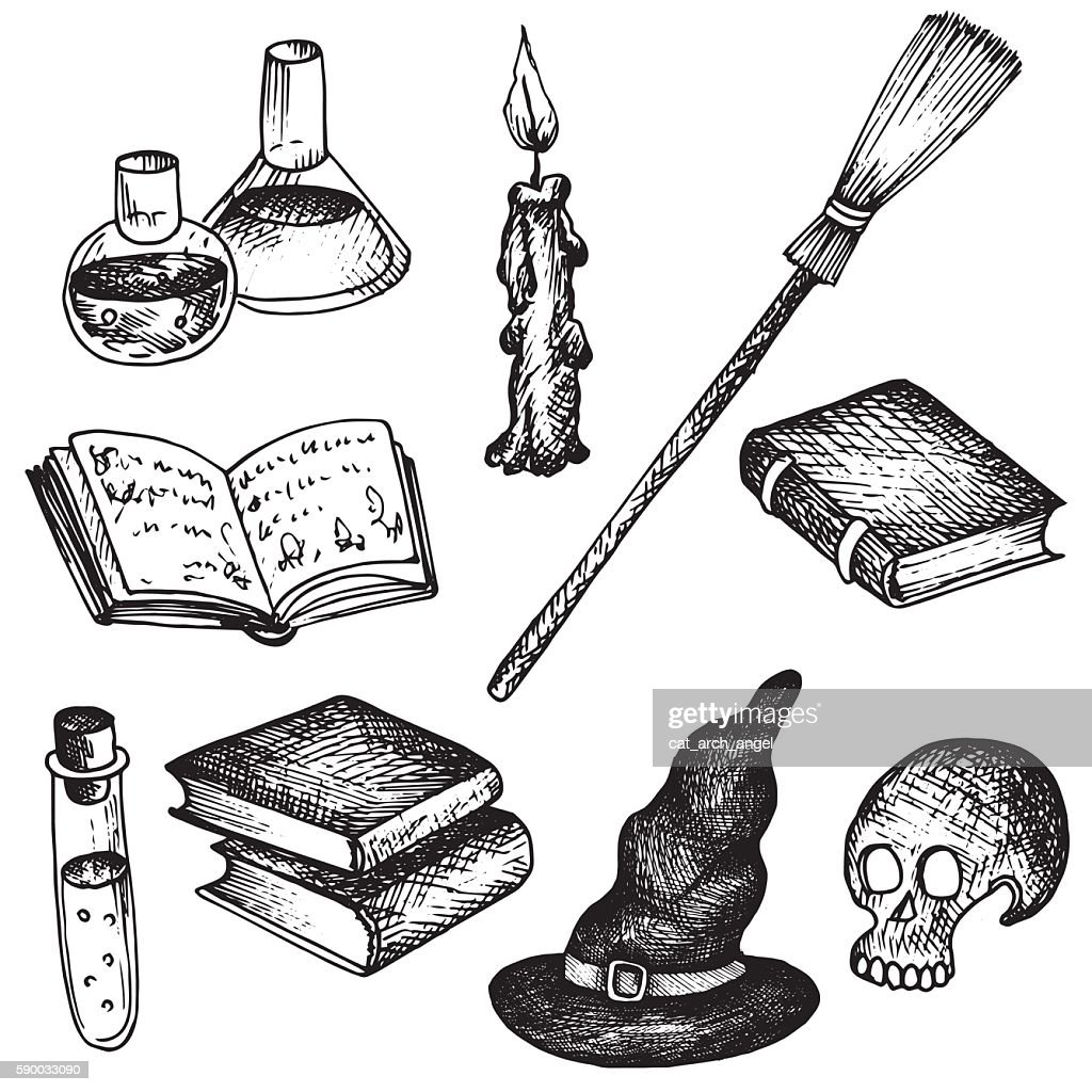 vector magic set of objects for witch