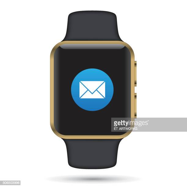 vector mail app on smartwatch. - smart watch stock illustrations