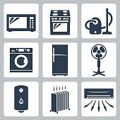 Vector major appliances icons set