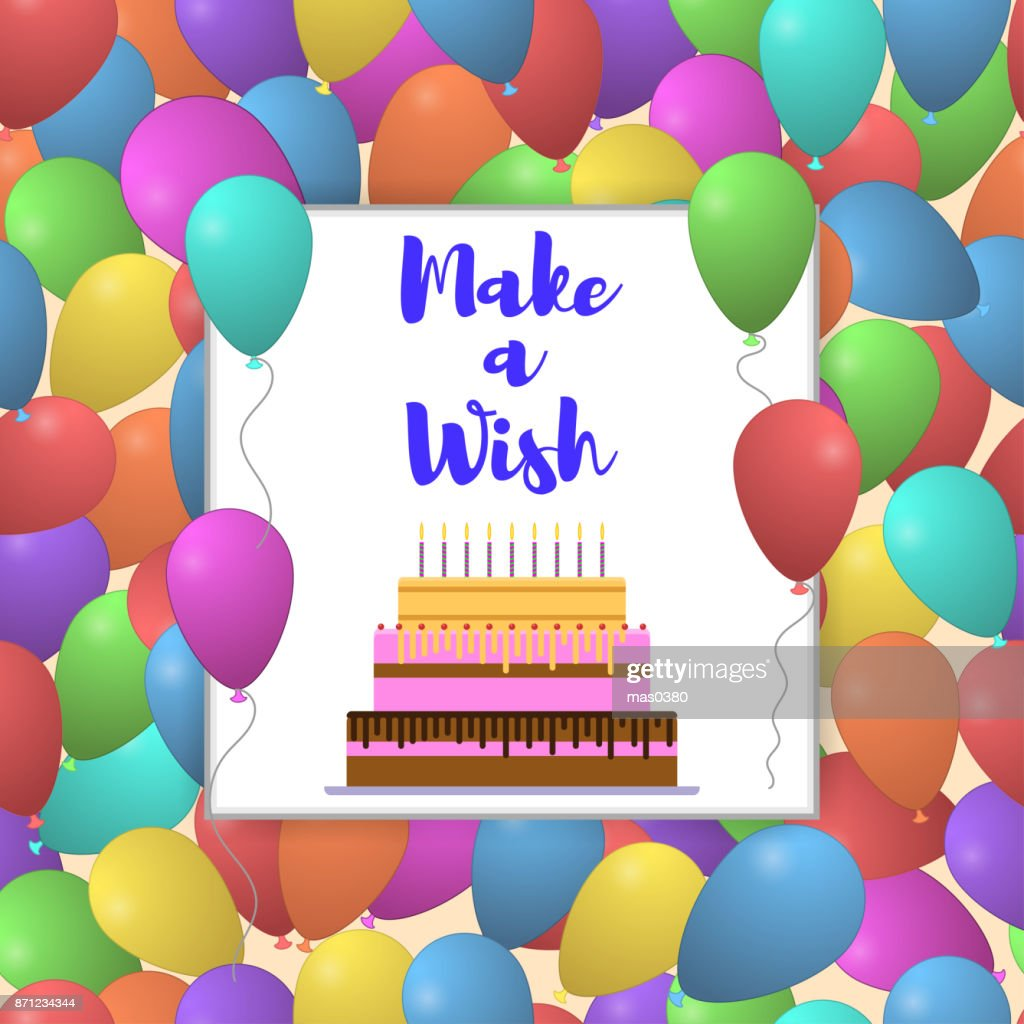 Vector Make A Wish Lettering With Colorful Balloon Background For