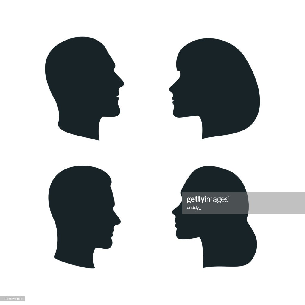 Vector Male and Female Profile Silhouettes