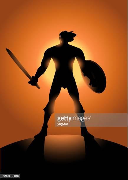 Vector Male Barbarian Warrior Superhero Silhouette