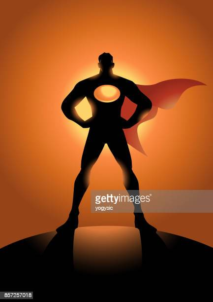 vector male superhero silhouette - arms akimbo stock illustrations