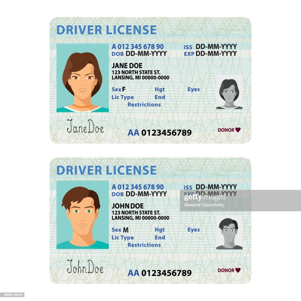 Vector man and woman driver license plastic card template