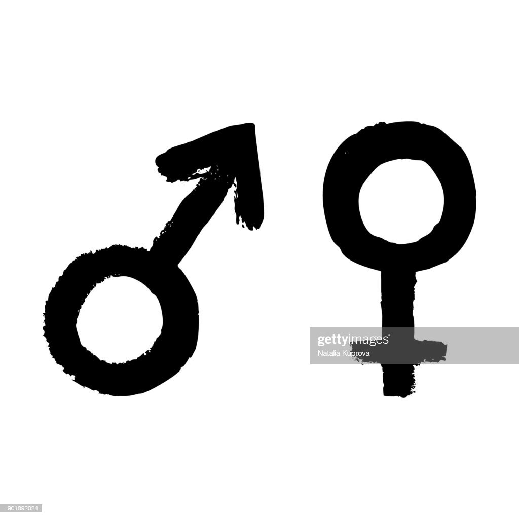 Vector man and woman sign icon. Symbol of feminine, female and male