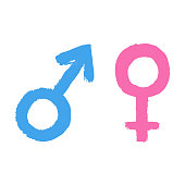 Vector man and woman sign icon. Symbol pink of feminine, female and blue of male