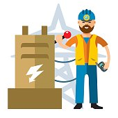 Vector Man Electricity. Flat style colorful Cartoon illustration.