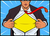 Vector Man Opens His Shirt Reveals a Superhero Costume inside.