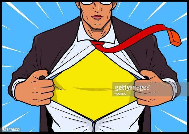 Vector Man Opens His Shirt Reveals a Superhero Costume inside.