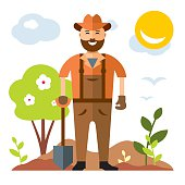 Vector Man with shovel ready to work. Flat style colorful