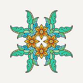 Vector mandala. Mehndi lace tattoo. Oriental weave with sharp corners.